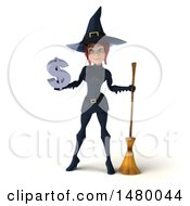 Clipart Of A 3d Sexy Witch In Blue On A White Background Royalty Free Illustration
