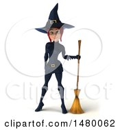Clipart Of A 3d Sexy Witch In Blue On A White Background Royalty Free Illustration by Julos