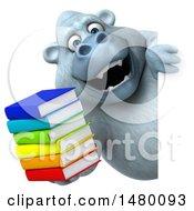 Poster, Art Print Of 3d White Monkey Yeti Holding Books On A White Background