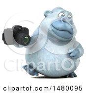 Poster, Art Print Of 3d White Monkey Yeti Holding A Camera On A White Background