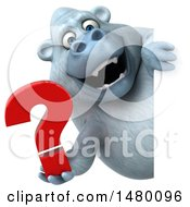 Poster, Art Print Of 3d White Monkey Yeti Holding A Question Mark On A White Background