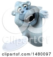 Poster, Art Print Of 3d White Monkey Yeti Holding A Plate On A White Background