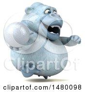 Poster, Art Print Of 3d White Monkey Yeti Holding A Golf Ball On A White Background