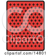 The Back Of A Red Playing Card With Black Diamonds Clipart Illustration