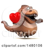 Poster, Art Print Of 3d Brown Tommy Tyrannosaurus Rex Dinosaur Mascot Holding A Heart On A White Background