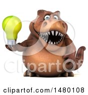 Poster, Art Print Of 3d Brown Tommy Tyrannosaurus Rex Dinosaur Mascot Holding A Light Bulb On A White Background
