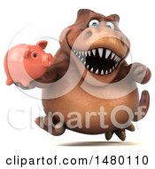 Poster, Art Print Of 3d Brown Tommy Tyrannosaurus Rex Dinosaur Mascot Holding A Piggy Bank On A White Background