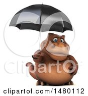 Poster, Art Print Of 3d Brown Tommy Tyrannosaurus Rex Dinosaur Mascot Holding An Umbrella On A White Background