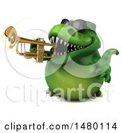 Poster, Art Print Of 3d Green Tommy Tyrannosaurus Rex Dinosaur Mascot On A White Background
