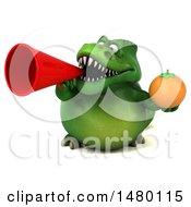 Poster, Art Print Of 3d Green Tommy Tyrannosaurus Rex Dinosaur Mascot Holding An Orange On A White Background