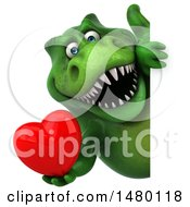 Clipart Of A 3d Green Tommy Tyrannosaurus Rex Dinosaur Mascot Holding A Heart On A White Background Royalty Free Illustration by Julos