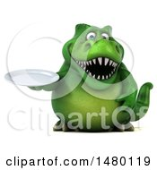 Clipart Of A 3d Green Tommy Tyrannosaurus Rex Dinosaur Mascot Holding A Plate On A White Background Royalty Free Illustration by Julos