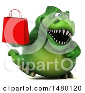 Clipart Of A 3d Green Tommy Tyrannosaurus Rex Dinosaur Mascot Holding A Shopping Bag On A White Background Royalty Free Illustration