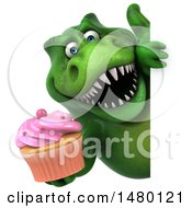 Clipart Of A 3d Green Tommy Tyrannosaurus Rex Dinosaur Mascot Holding A Cupcake On A White Background Royalty Free Illustration by Julos