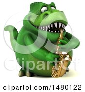 Poster, Art Print Of 3d Green Tommy Tyrannosaurus Rex Dinosaur Mascot Playing A Saxophone On A White Background