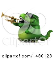 Poster, Art Print Of 3d Green Tommy Tyrannosaurus Rex Dinosaur Mascot Playing A Trumpet On A White Background