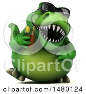 Poster, Art Print Of 3d Green Tommy Tyrannosaurus Rex Dinosaur Mascot With A Cocktail On A White Background