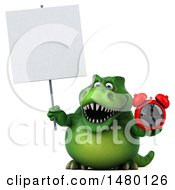Poster, Art Print Of 3d Green Tommy Tyrannosaurus Rex Dinosaur Mascot Holding An Alarm Clock On A White Background
