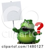 Poster, Art Print Of 3d Green Tommy Tyrannosaurus Rex Dinosaur Mascot Holding A Question Mark On A White Background