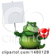 Poster, Art Print Of 3d Green Tommy Tyrannosaurus Rex Dinosaur Mascot Holding A Devil Head On A White Background