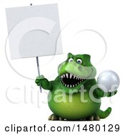 Poster, Art Print Of 3d Green Tommy Tyrannosaurus Rex Dinosaur Mascot Holding A Golf Ball On A White Background