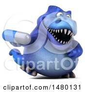 Poster, Art Print Of 3d Blue Tommy Tyrannosaurus Rex Dinosaur Mascot Holding A Pill On A White Background