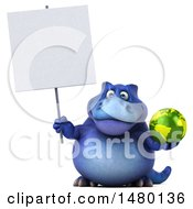 Poster, Art Print Of 3d Blue Tommy Tyrannosaurus Rex Dinosaur On A White Background