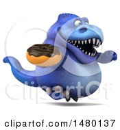 Poster, Art Print Of 3d Blue Tommy Tyrannosaurus Rex Dinosaur Mascot Holding A Donut On A White Background