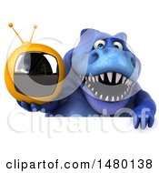 Poster, Art Print Of 3d Blue Tommy Tyrannosaurus Rex Dinosaur Mascot Holding A Tv On A White Background