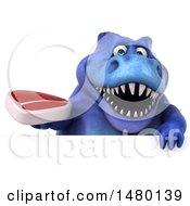 Poster, Art Print Of 3d Blue Tommy Tyrannosaurus Rex Dinosaur Mascot Holding A Steak On A White Background