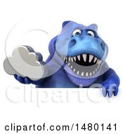 Poster, Art Print Of 3d Blue Tommy Tyrannosaurus Rex Dinosaur Mascot Holding A Cloud On A White Background