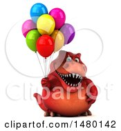 Clipart Of A 3d Red Tommy Tyrannosaurus Rex Dinosaur Mascot Holding Balloons On A White Background Royalty Free Illustration