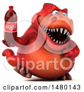 Poster, Art Print Of 3d Red Tommy Tyrannosaurus Rex Dinosaur Mascot Holding A Soda On A White Background