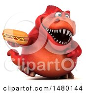 Poster, Art Print Of 3d Red Tommy Tyrannosaurus Rex Dinosaur Mascot Holding A Hot Dog On A White Background