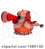 Poster, Art Print Of 3d Red Tommy Tyrannosaurus Rex Dinosaur Mascot Holding A Wrench On A White Background