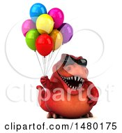 Clipart Of A 3d Red Tommy Tyrannosaurus Rex Dinosaur Mascot On A White Background Royalty Free Illustration