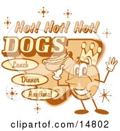 Vintage Hot Dog Advertisement Showing A Circular King Character Holding A Hotdog And Text Reading Hot Hot Hot Dogs Lunch Dinner Anytime Clipart Illustration by Andy Nortnik