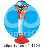 Gumball Vending Machine Full Of Colorful Balls Of Chewing Gum Clipart Illustration by Andy Nortnik