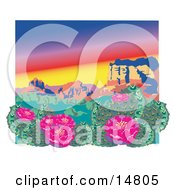 Flowering Cactus Plants In The Grand Canyon Desert Clipart Illustration