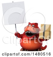 Clipart Of A 3d Red Tommy Tyrannosaurus Rex Dinosaur Mascot On A White Background Royalty Free Illustration by Julos