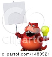 Clipart Of A 3d Red Tommy Tyrannosaurus Rex Dinosaur Mascot Holding A Light Bulb And Sign On A White Background Royalty Free Illustration by Julos