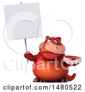 Clipart Of A 3d Red Tommy Tyrannosaurus Rex Dinosaur Mascot Holding A Steak On A White Background Royalty Free Illustration by Julos