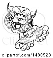 Clipart Of A Black And White Bobcat Mascot Playing A Video Game Royalty Free Vector Illustration by AtStockIllustration