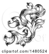 Black And White Ornate Vintage Floral Design Element