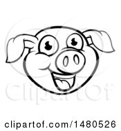 Clipart Of A Black And White Happy Pig Face Royalty Free Vector Illustration
