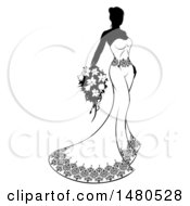 Poster, Art Print Of Silhouetted Black And White Bride With Flowers