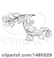 Clipart Of A Black And White Ornate Vintage Floral Design Element Royalty Free Vector Illustration by AtStockIllustration