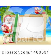 Happy Santa Surfer On A Tropical Beach By A Blank Sign With A Parrot