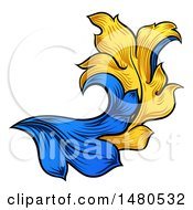 Clipart Of A Blue And Yellow Ornate Vintage Heraldry Floral Design Element Royalty Free Vector Illustration by AtStockIllustration