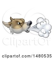 Clipart Of A Big Bad Wolf Head Blowing Royalty Free Vector Illustration by AtStockIllustration
